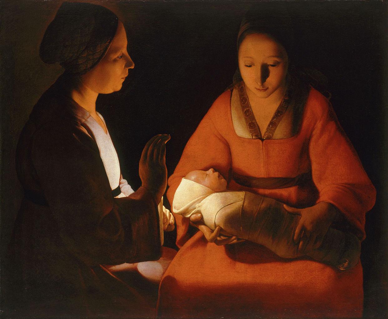 El recién nacido. Georges de La Tour. Óleo sobre lienzo, 76 x 91 cm.  Rennes, Musée des beaux-arts de Rennes
